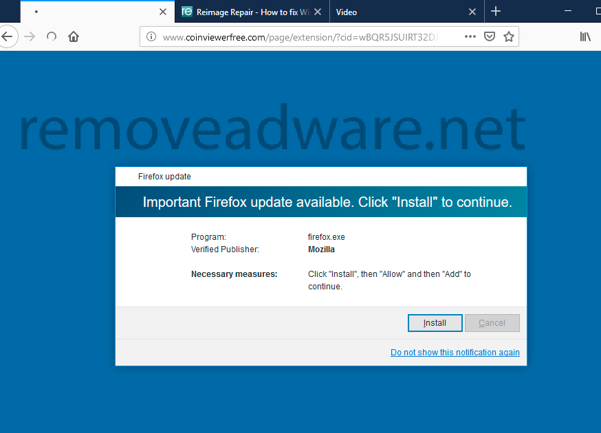 Coinviewerfree com fake Flash Player update pop-up removal