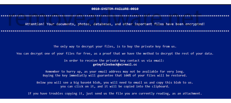 remove Getmyfilesback@airmail.cc